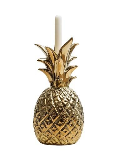 Warm Design Ananas Figürlü Mumluk Altın